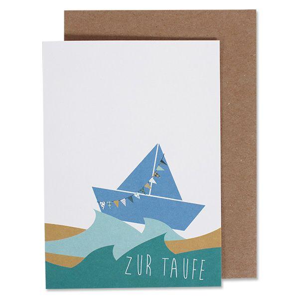 """ava&yves Klappkarte Schiffchen Blau """"Zur Taufe"""""""