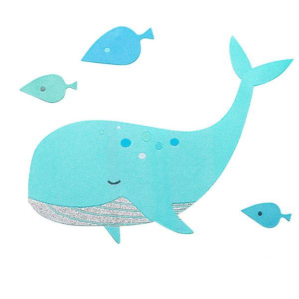 fabfabstickers Stoffsticker zum Aufbügeln Whale