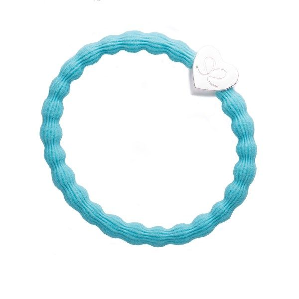 byEloise Haarband Armband Silver Heart Neon Blue
